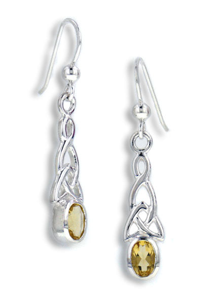 Sterling Silver Celtic Knot and Genuine Golden Citrine Hook Earrings