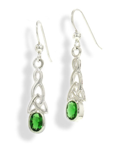 Sterling Silver Celtic Knot Emerald-Green Glass Gemstone Hook Earrings