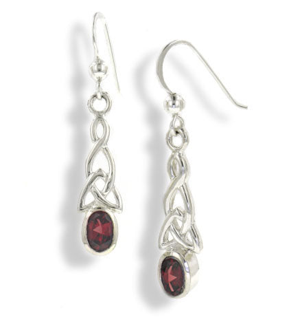 Sterling Silver Celtic Knot and Genuine Red Garnet Hook Earrings