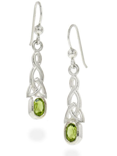 Sterling Silver Celtic Knot and Genuine Peridot Hook Earrings