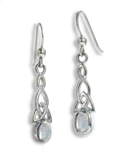 Sterling Silver Celtic Knot and Genuine Rainbow Moonstone Hook Earrings - Silver Insanity