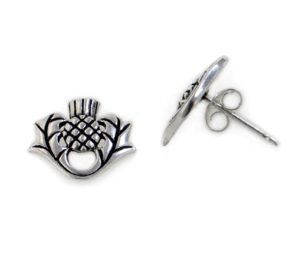Scottish Thistle Sterling Silver Post Stud Earrings