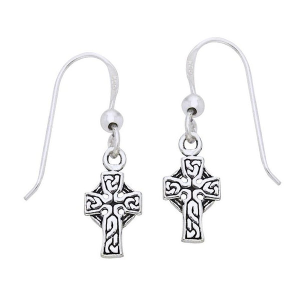 Small Sterling Silver Irish Celtic Knot Cross Hook Earrings - Silver Insanity