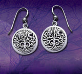 Round Tree of Life Moon Symbol Sterling Silver Earrings