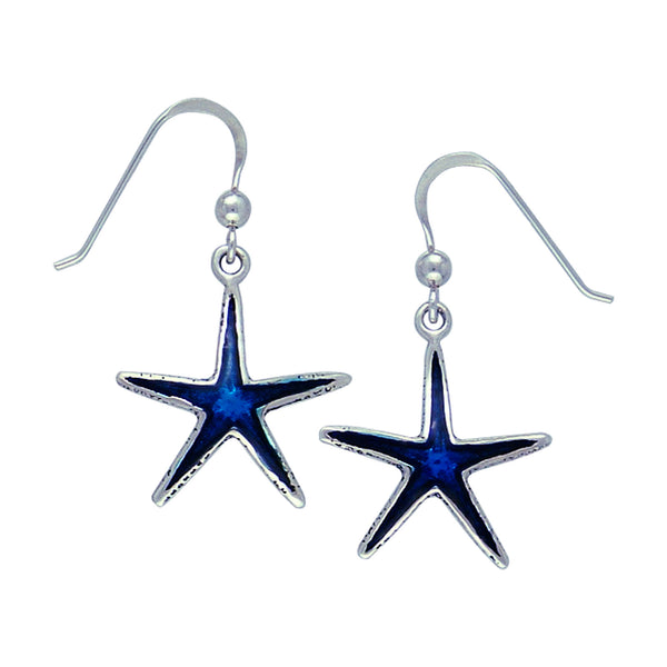Deep Sea Blue Starfish Sterling Silver Hook Earrings - Silver Insanity