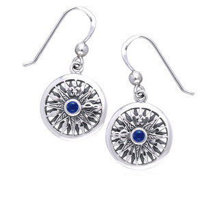Celtic Voyage - Nautical Sea Compass Sterling Silver Earrings with Blue Lapis - Silver Insanity