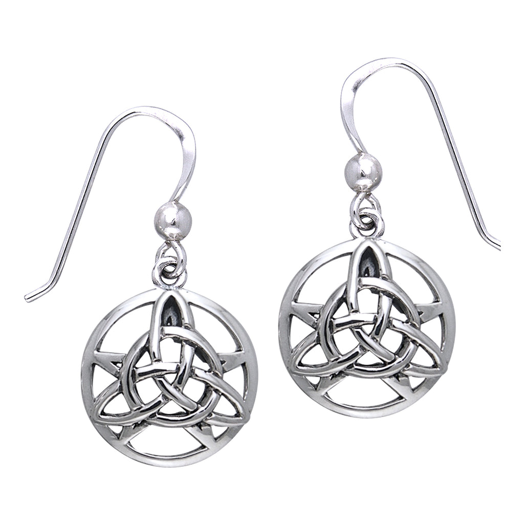 The Druid's Amulet - Triquetra Celtic Knot and Pentacle Sterling Silver Earrings
