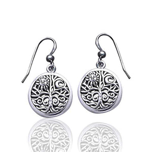 Round Tree of Life Moon Symbol Sterling Silver Earrings - Silver Insanity