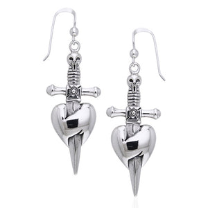 Dagger through the Heart - Skull and Sword Pirate Earrings Sterling Silver - Silver Insanity
