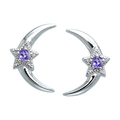 Celestial Star Cresent Moon Amethyst, Blue Topaz, Garnet Sterling Silver Post Stud Earrings - Silver Insanity