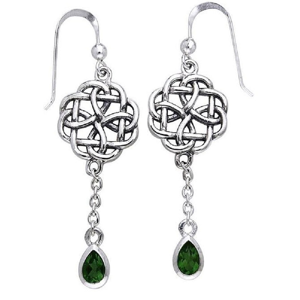 Sterling Silver Classic Irish Celtic Knot and Emerald-Green Glass Drop Earrings