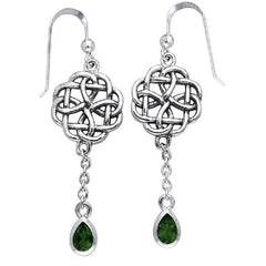 Sterling Silver Classic Irish Celtic Knot and Emerald-Green Glass Drop Earrings - Silver Insanity