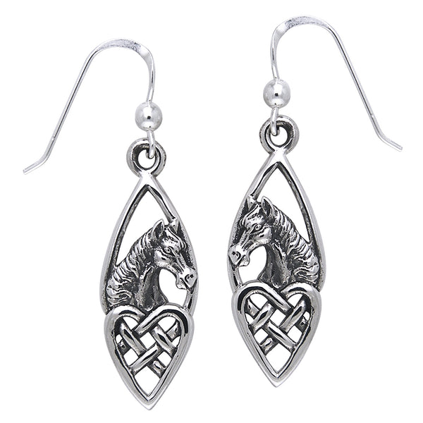Celtic Knot Heart and Horse Head Sterling Silver Earrings - Silver Insanity