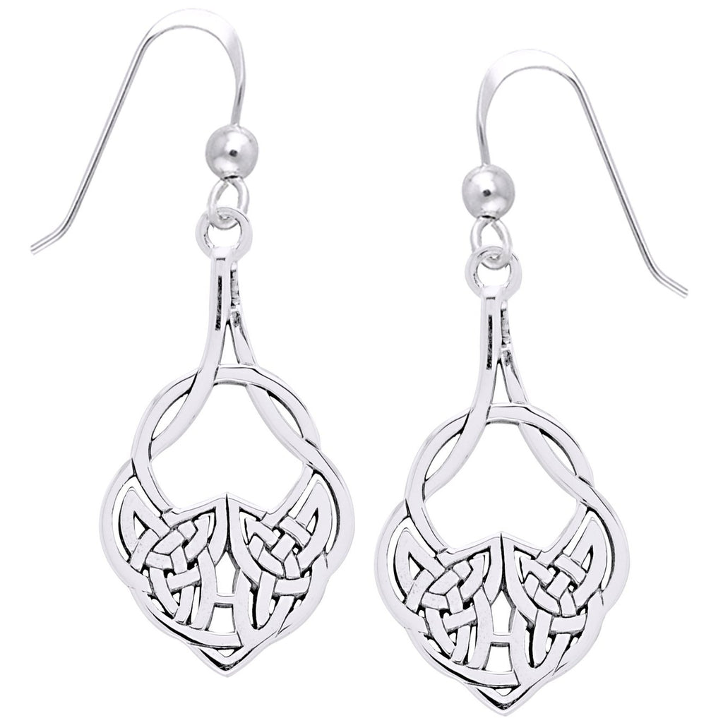 Medium Sterling Silver Celtic Knot Hook Dangle Drop Earrings