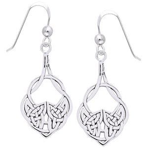 Medium Sterling Silver Celtic Knot Hook Dangle Drop Earrings - Silver Insanity