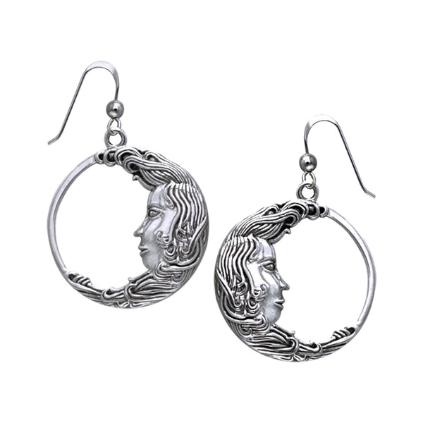 Luna the Moon Goddess Celestial Sterling Silver Hook Earrings - Silver Insanity