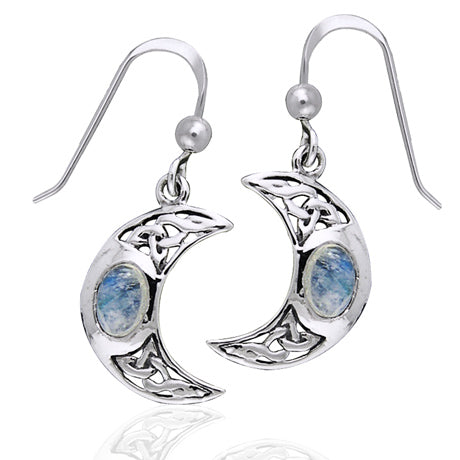 Moon Spirit Celtic Moonstone Sterling Silver Earrings - Silver Insanity