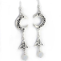 Sterling Silver Celtic Knot Crescent Moonstone Earrings - Silver Insanity