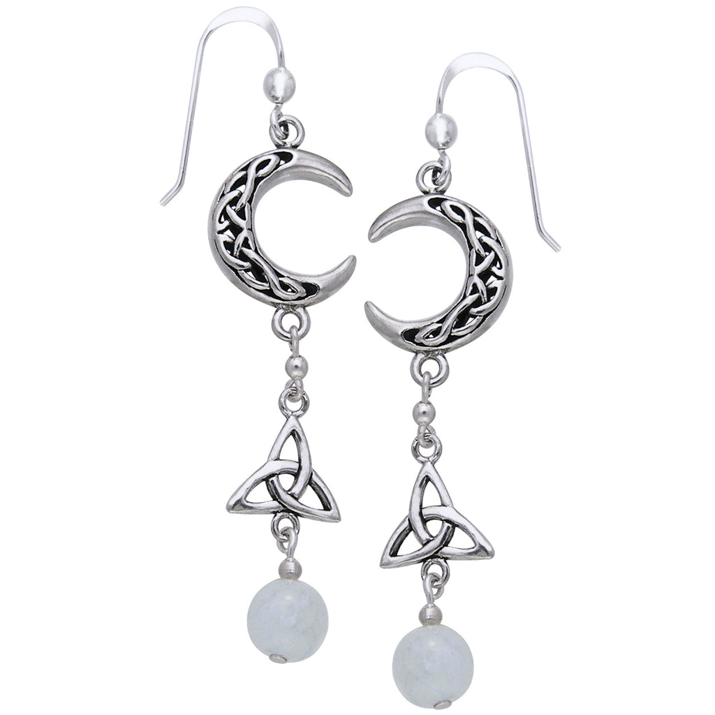 Sterling Silver Celtic Knot Crescent Moonstone Earrings