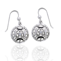 Fire Moon Pentacle Rainbow Moonstone Sterling Silver Earrings - Silver Insanity