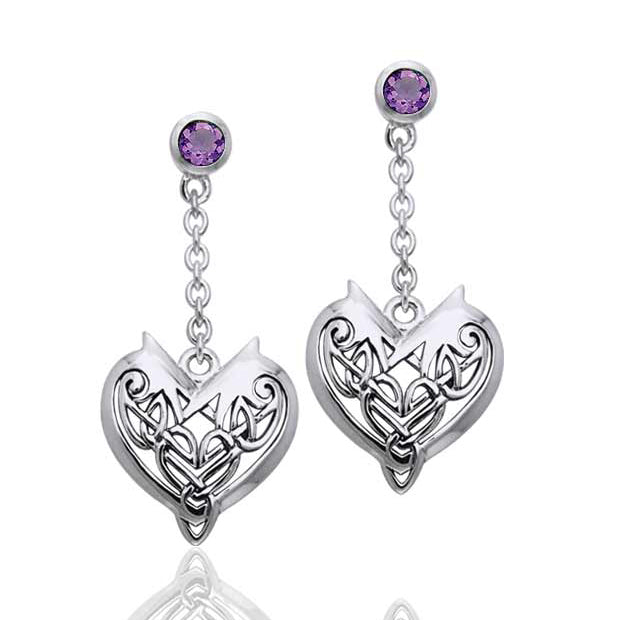 Joyous Heart Celtic Knot Chain Dangle and Amethyst Sterling Silver Earrings