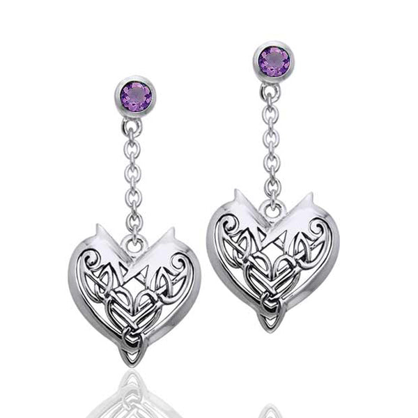 Joyous Heart Celtic Knot Chain Dangle and Amethyst Sterling Silver Earrings - Silver Insanity