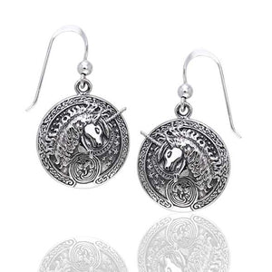 Courtney Davis Sterling Silver Celtic Unicorn Medallion Hook Earrings - Silver Insanity