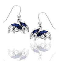 Blue Paua Shell Double Diving Dolphin Sterling Silver Hook Earrings - Silver Insanity