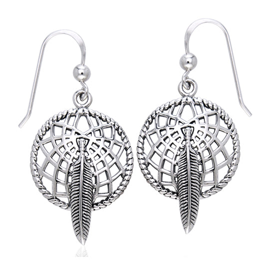 Sterling Silver Dreamcatcher and Hawk Feather Earrings - Silver Insanity