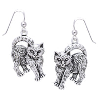 Whimsical Movable Head Kitty Cat Earrings in Solid Sterling Silver - Silver Insanity