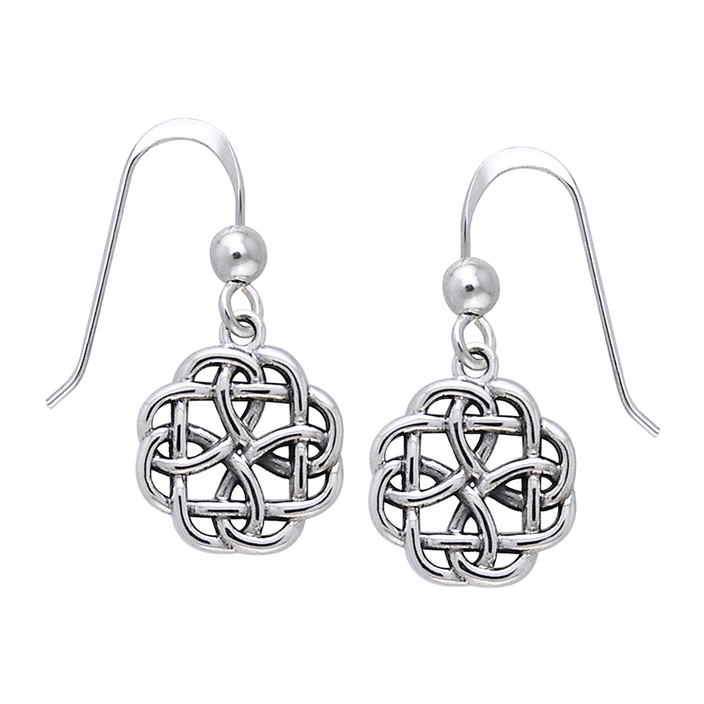 Celtic Knot Flower Dangle Sterling Silver Hook Earrings, Small and Sturdy