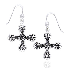 Celtic Cross of the Spirit Knotwork Symbols Sterling Silver Hook Earrings - Silver Insanity