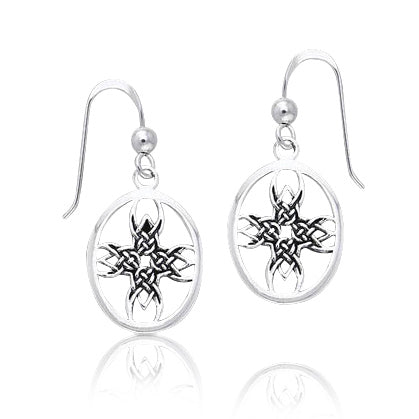 Tribal Cross Celtic Knotwork Sterling Silver Earrings - Silver Insanity