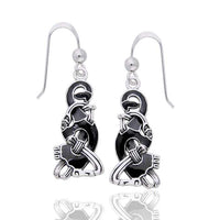 Ringerike Viking Hook Black and Sterling Silver Enamel Earrings - Silver Insanity