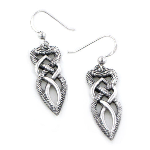 Twisted Snake Heart Intertwined Celtic Knot Sterling Silver Earrings