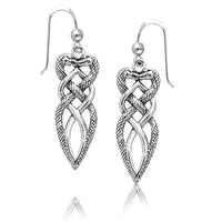 Twisted Snake Heart Intertwined Celtic Knot Sterling Silver Earrings - Silver Insanity