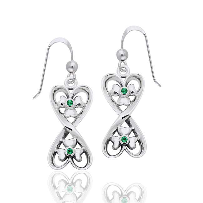 Lucky in Love - Irish Shamrock Hearts Sterling Silver Earrings