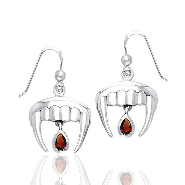 Vampire Fangs with Blood Drops Sterling Silver True Garnet Earrings - Silver Insanity
