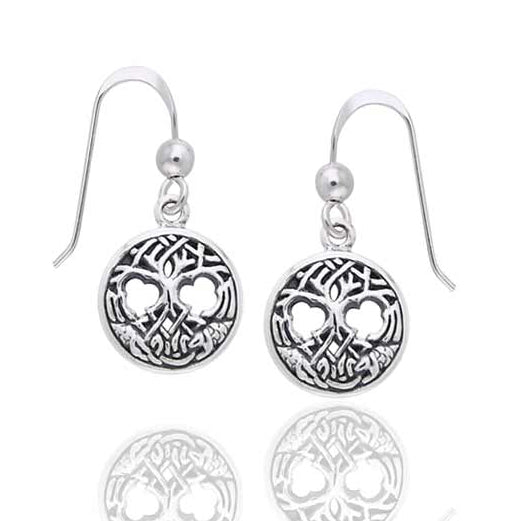 United Worlds - Small Sterling Silver Celtic Knot Tree of Life Hook Earrings - Silver Insanity