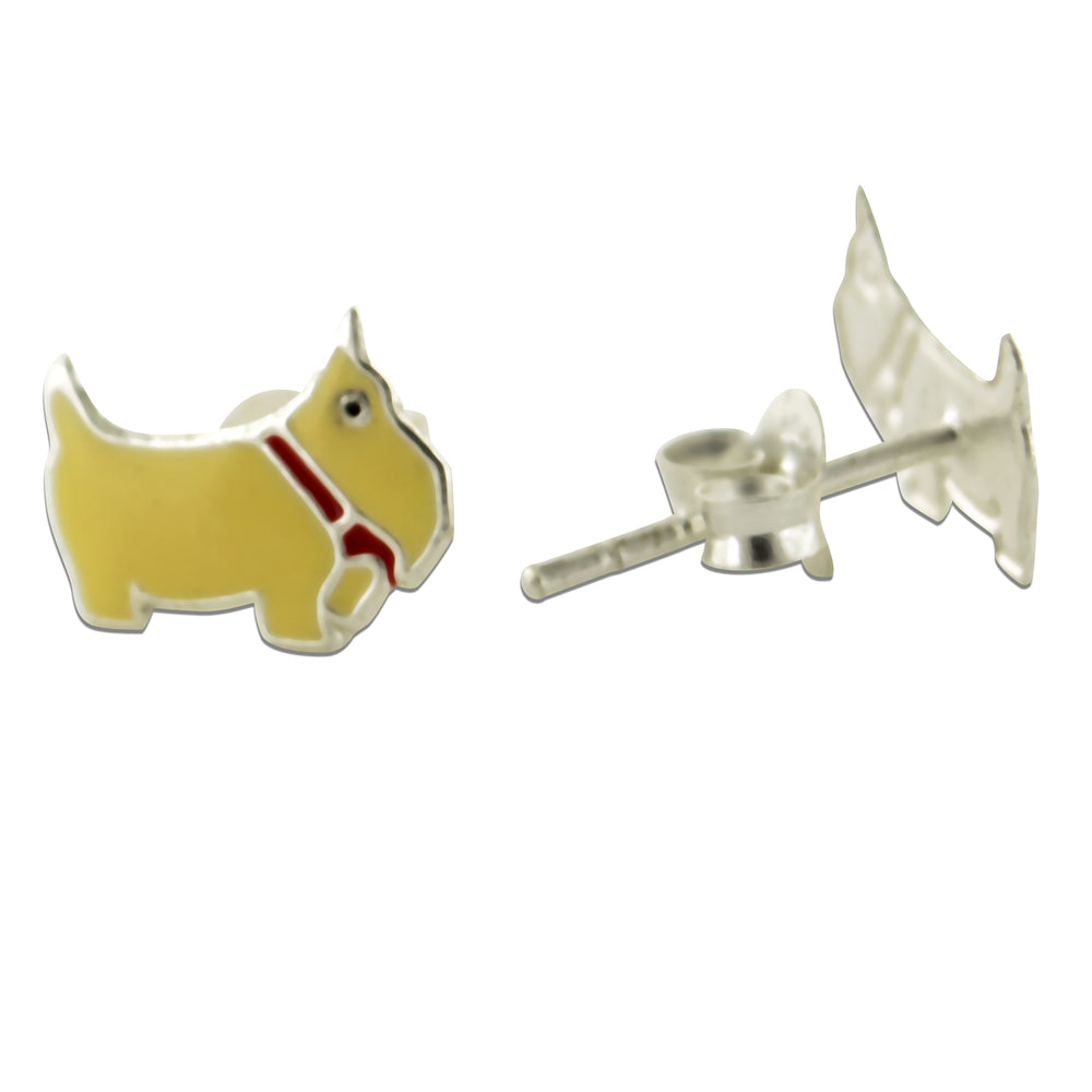 Yellow Enamel Scottish Terrier Puppy Dog Sterling Silver Studs Post Earrings - Silver Insanity