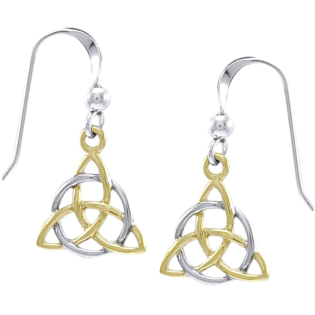 Trinity Knot - Two Tone Triquetra 14k Gold Plated Sterling Silver Hook Earrings