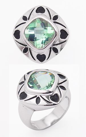 4.5ct Cushion Green Topaz Sterling Silver Ring - Silver Insanity