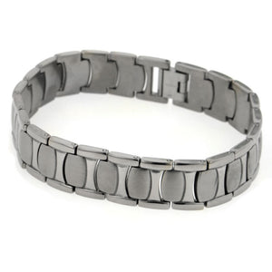 "Mens Wide Brushed Combination Finish Titanium Snake Skin 8.5"" Link Bracelet - Silver Insanity"
