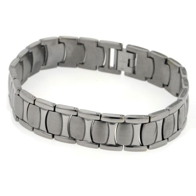 Mens Wide Brushed Combination Finish Titanium Snake Skin 8.5