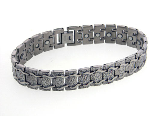 Mens Train Track Magnetic Therapy Titanium Metal Jewelry Link Bracelet, 8