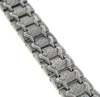"Mens Train Track Magnetic Therapy Titanium Metal Jewelry Link Bracelet, 8"" - Silver Insanity"