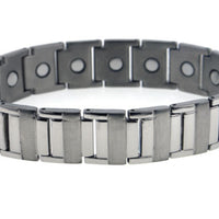 "Men's Heavy-Duty Sierra Link Titanium Chain 8.25"" Bracelet with Magnets - Silver Insanity"