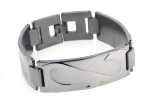 "Wide Mens Rugged Stingray Titanium Metal Jewelry Link Bracelet, 7.5"" - Silver Insanity"