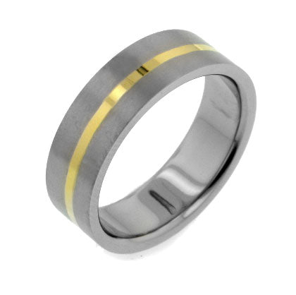 7mm Gold Tone Stripe Titanium Wedding Band Ring - Silver Insanity