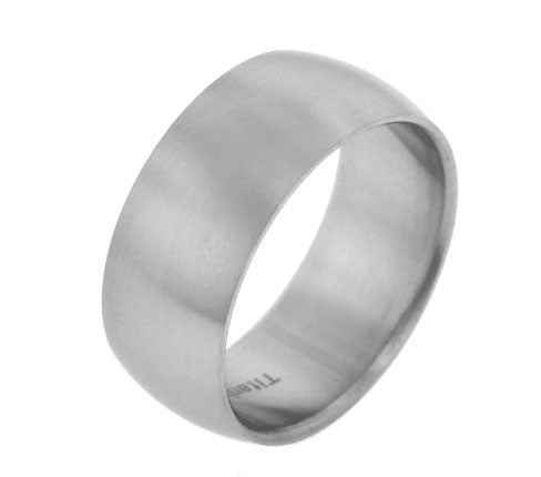 10mm Wide Mens Titanium Brushed Satin Wedding Band Ring - Silver Insanity
